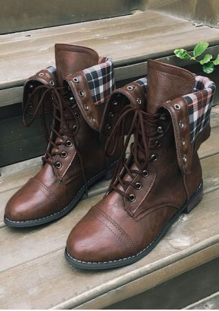 Plaid Lace Up Round Toe Boots