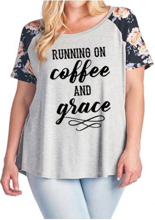 Plus Size Running On Coffee And Grace Baseball T-Shirt
