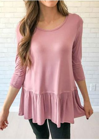 Solid Flouncing O-Neck Blouse