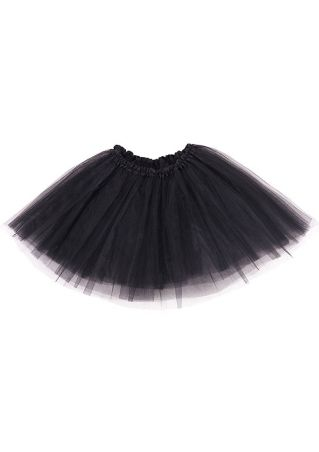 Solid Mesh Splicing Three-Layered Tutu Skirt