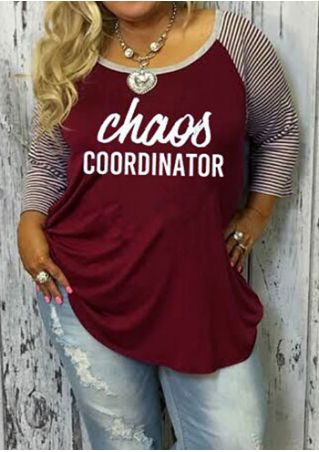 Plus Size Chaos Coorninator Baseball T-Shirt without Necklace