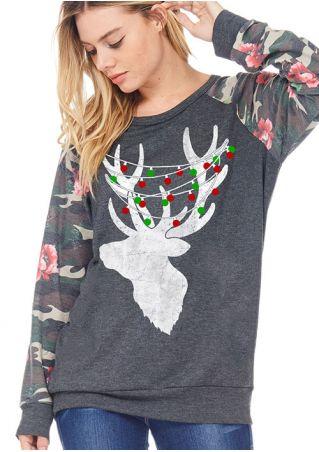 Christmas Reindeer Floral Camouflage Printed Sweatshirt