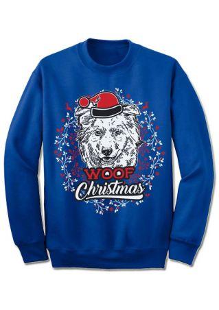 Christmas Woof Hat O-Neck Sweatshirt
