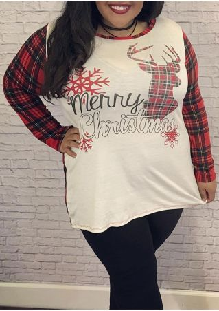 Plus Size Merry Christmas Snowflake Reindeer Plaid T-Shirt without Necklace