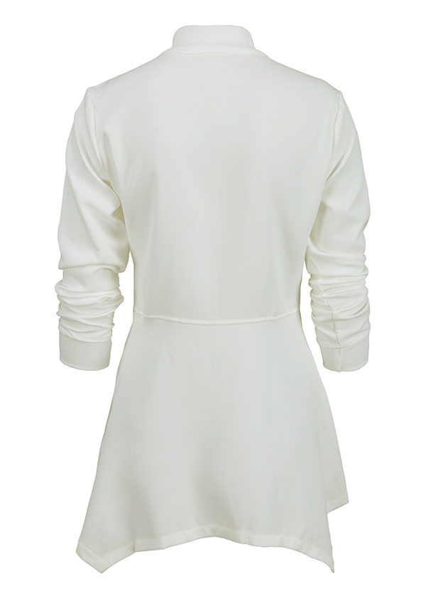 Image of Solid Asymmetric Zipper Long Sleeve Coat