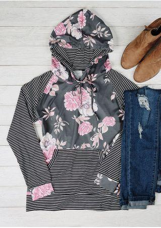 Floral Striped Drawstring Pocket Hoodie