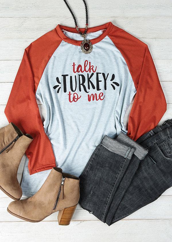 Plus size talk turkey to me baseball t shirt fairyseason for Shirts made in turkey