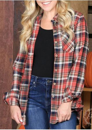 Plaid Button Pocket Turn-Down Collar Shirt