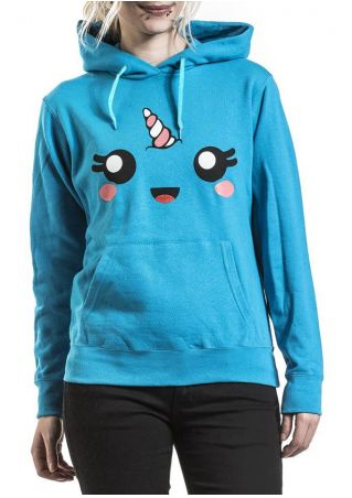 Cartoon Unicorn Pocket Drawstring Hoodie