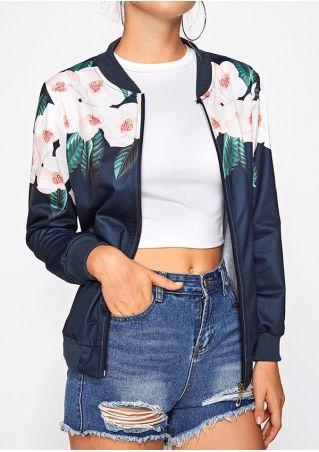 Floral Zipper Long Sleeve Jacket