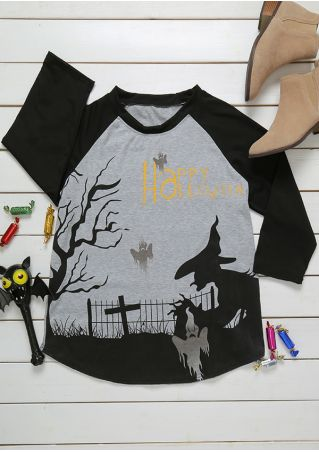 Plus Size Happy Halloween Witch Ghost Baseball T-Shirt