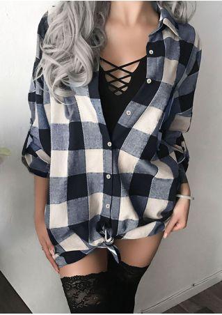 Plaid Turn-Down Collar Shirt