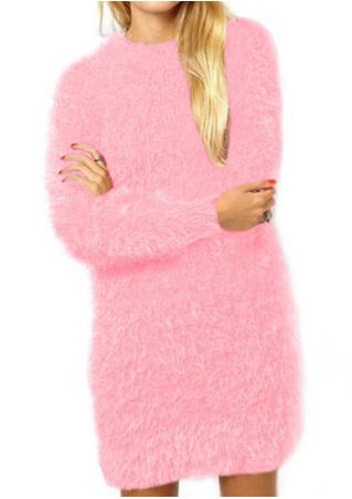 Solid Fluffy Long Sleeve Mini Dress