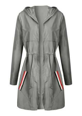 Striped Detail Drawstring Hooded Coat