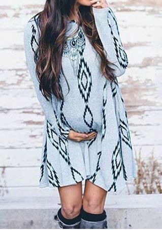 Printed Long Sleeve Maternity Mini Dress