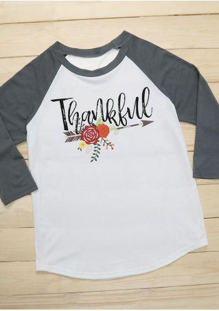 Thankful Floral Arrow Baseball T-Shirt