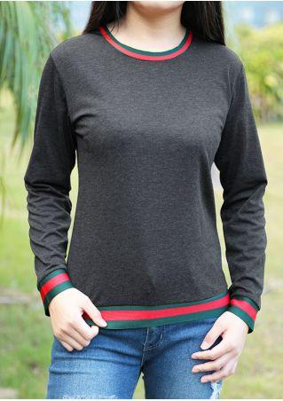 Striped Long Sleeve O-Neck T-Shirt
