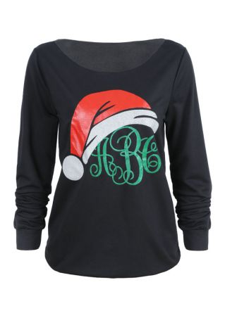 Christmas Monogram Santa Hat Sweatshirt