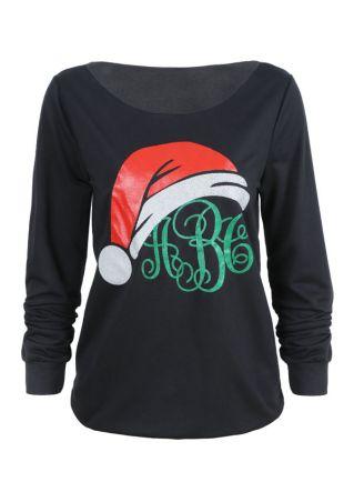 Christmas Monogram Santa Hat Sweatshirt