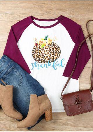 Thankful Floral Pumpkin Baseball T-Shirt