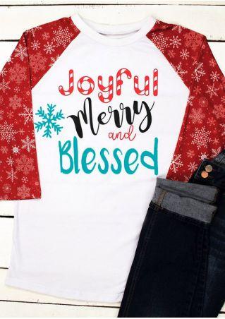 Christmas Joyful Merry And Blessed Snowflake Baseball T-Shirt