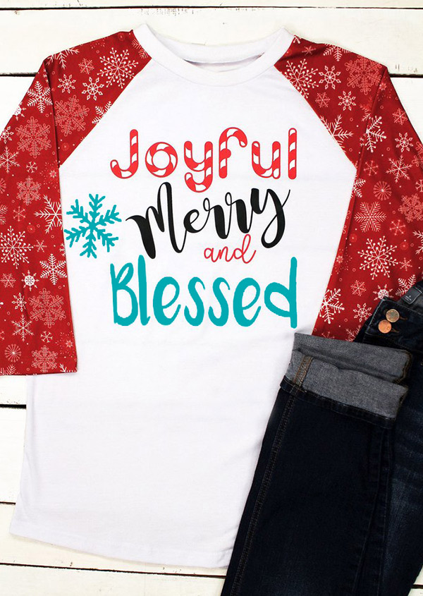 Christmas Joyful Merry And Blessed Snowflake Baseball T-Shirt in White. Size: S,L