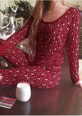 Chirstmas Reindeer Printed Sleepwear Set without Necklace