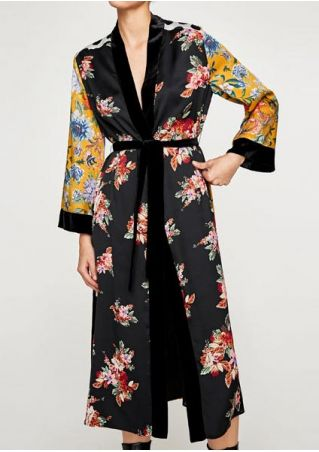 Floral Polka Dot Splicing Robe with Belt