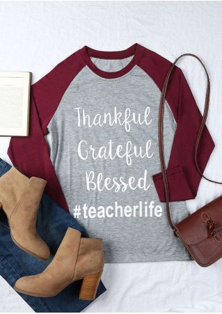 Thankful Grateful Blessed Teacherlife Baseball T-Shirt