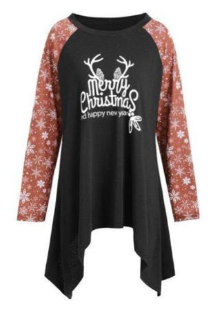 Plus Size Merry Christmas Asymmetric  Blouse
