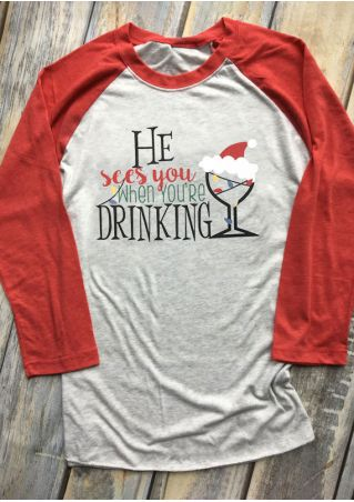 Christmas He Sees You When You're Drinking Baseball T-Shirt