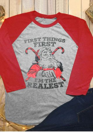 Christmas Santa Claus I'm The Realest Baseball T-Shirt