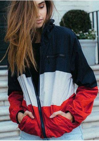 Color Block Zipper Pocket Jacket