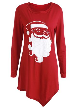 Christmas Santa Claus Asymmetric Blouse