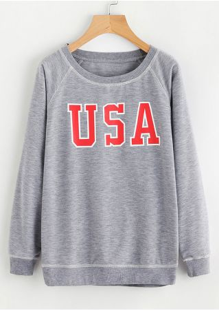 USA O-Neck Long Sleeve Sweatshirt