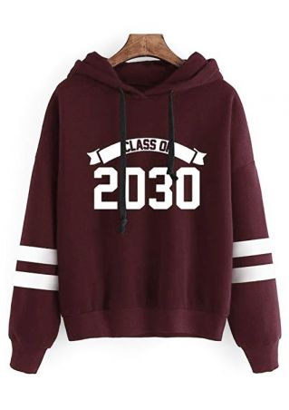 Class Of 2030 Striped Detail Hoodie