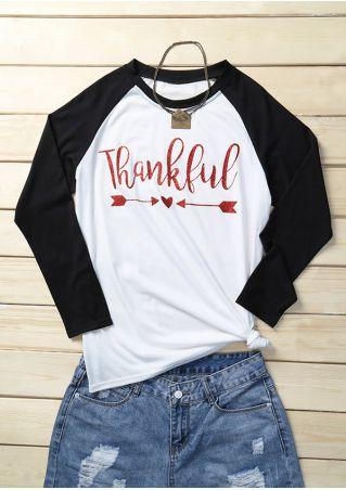 Thankful Arrow Heart Baseball T-Shirt