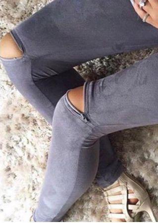 Solid Zipper Elastic Waist Leggings