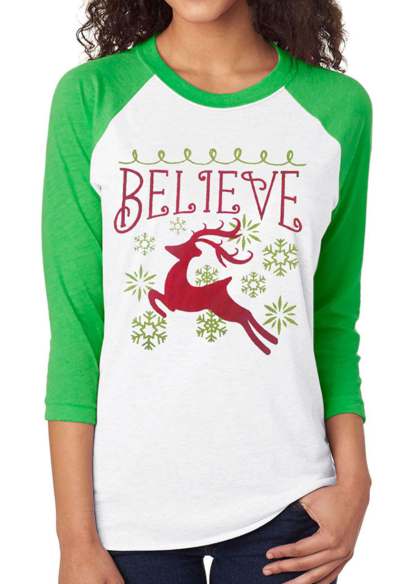 Christmas Believe Reindeer Baseball T Shirt Fairyseason