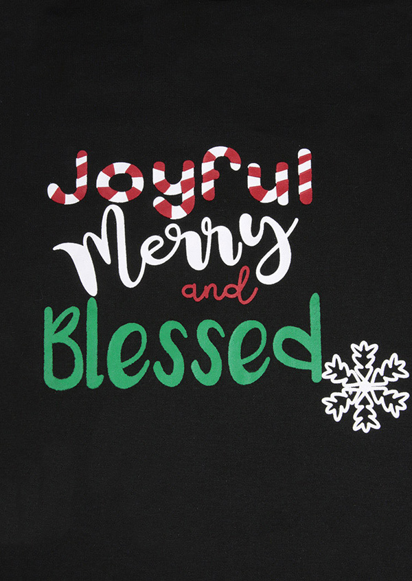 Christmas Joyful Merry And Blessed Snowflake Baseball T