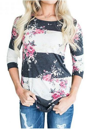 Floral O-Neck Three Quarter Sleeve T-Shirt without Necklace