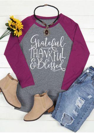 Grateful Thankful & Blessed Baseball T-Shirt
