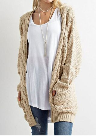 Solid Knitted Pocket Cardigan without Necklace