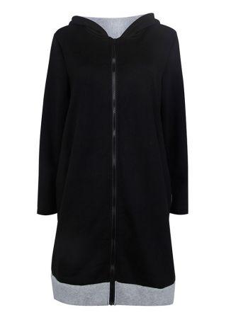 Color Block Pocket Hooded Coat