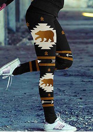 Bear Arrow Elastic Waist Leggings