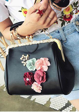 Flower Buckle Splicing Shoulder Bag