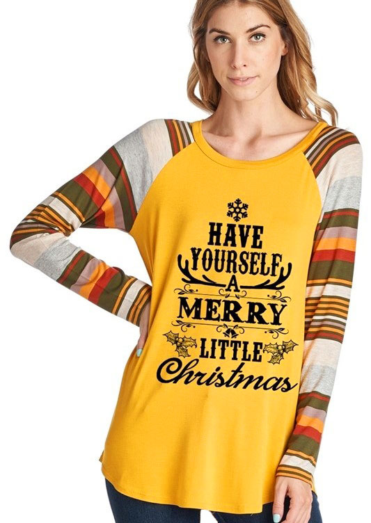 Christmas Have Yourself A Merry Little Christmas Baseball T-Shirt in Yellow. Size: L,XL
