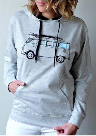 Vintage Bus Drawstring Pocket Hoodie