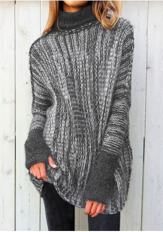 Knitted Splicing Long Sleeve Sweater