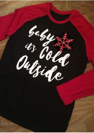Christmas Plus Size Baby It's Cold Outside Snowflake Baseball T-Shirt